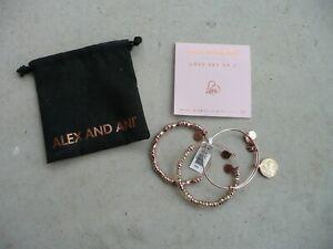 Alex and Ani LOVE Set of 3 Rose Gold Bangle Bracelets NWT - Hard to find!