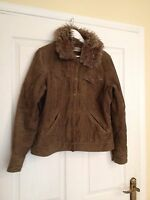 Beautiful Ladies Brown Cord Jacket detachable fur collar. Really lovely. Size 14