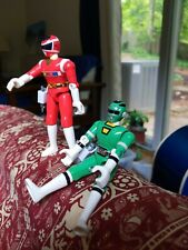 Bandai 1997 Power Rangers In Space Red & Green ! 5.5 inches !  With guns.