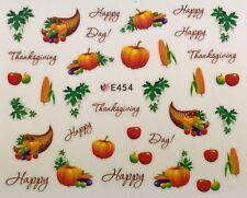 Nail Art 3D Decal Stickers Happy Thanksgiving Pumpkins Harvest Corn E454