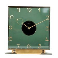 Kienzle Art Deco Tisch Uhr 8 Tage Werk Heinrich Möller Glas & Messing 30er Jahre