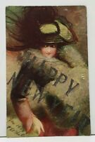Happy New Year Victorian Woman Large Hat 1908 Postcard I10