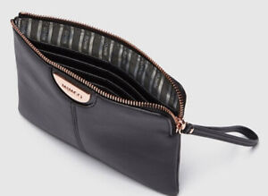 MIMCO Gala Black Medium Pouch Leather ROSE GOLD Wallet Clutch Bag BNWT RRP $100