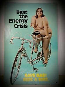 """1973 """"Beat The Energy Crisis"""" Cardboard Poster """"Save Gas! Ride A Bike"""" 17"""" X 11"""""""