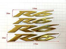 4 Pcs R6 Raised 3D For Yamaha YZF600 R6 Chrome Gold Decals Emblem Sticker Bling