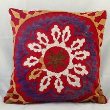 Turkish Suzani Throw Pillow Cover Cushion Cover 16''x16'' Nomad Vintage Kelim