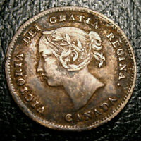 OLD CANADIAN COINS RARE CHOICE TONED 1882 CANADA TEN CENTS  BEAUTY 10 c