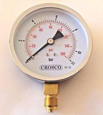 """Slimline Pressure gauge 100mm 0 - 11 bar/0-160 psi - bottom connection 3/8"""" BSP"""