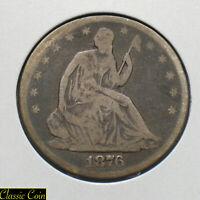 1876-S Silver Seated Liberty Half Dollar 50c VG 90% Silver