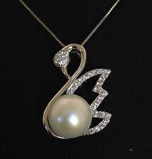 genuine 925 sterling silver freshwater Swan pearl zircon pendant necklace