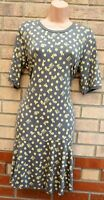 NEXT GREY YELLOW SPOTTED FLORAL SHORT SLEEVE A LINE SMOCK JERSEY TEA DRESS 14 L