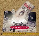 "NIB Coors Light Silver Bullet Smooth Vintage 1993 18"" metal advertising Tin sign"