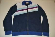 Penguin Munsing Wear Navy Blue Purple Striped Track Jacket Mens Size Xl