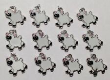 12 Enamel Sheep Lamb Farm Animals Kids Charms Jewelry DIY Earrings/Bracelet Q9