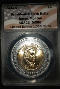 2008-P & 2008-D James Monroe Presidential Oath Dollars - ANACS MS65 / MS66