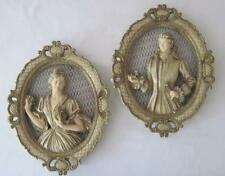 Vtg 1958 Universal Statuary Chicago Romantic Era Couple Chalkware Wall Plaque