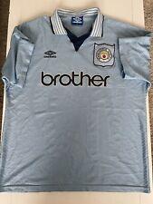 Rare Man City 1995/1996 MCFC Home Retro Umbro Football Shirt Size XL Manchester