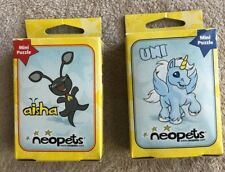 Rare Neopets Set of 2 50 Piece Mini Puzzle Aisha Uni Blue Unicorn Grey Alien Cat