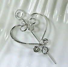 Heart Pin, Celtic Inspired, Aluminum Shawl, Brooch, Scarf and Sweater Pin