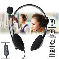 USB Kopfhörer Headset Stereo Headphone mit Mikrofon für Telefon Computer Laptop