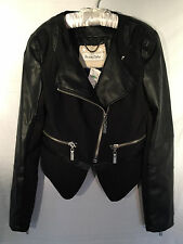 NWT Raison D'etre Black Moto Jacket (MSRP $202) Faux-Leather & Nylon