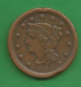1854 BRAIDED HAIR, LARGE CENT - 167 YEARS OLD!!!