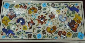 24 x 48 Inches Marble Sofa Table Top with Multi Gemstones Work Coffee Table Top
