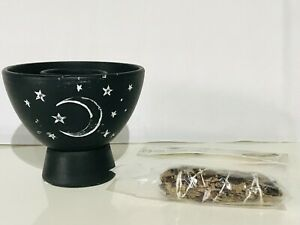 HALLOWEEN SMUDGE SICK BOWL USED FOR BURNING HERBS OR SMUDGE STICK WITCHES DECOR