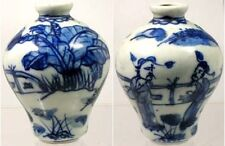 "Antique 19thC China Blue + White ""Ming Style"" Porcelain Snuff Bottle Park Motif"