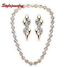 Two Tone Gold Fill Wheat Style Wedding Set Made With Swarovski Crystal N45XE125