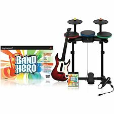 NEW PS2 Band Hero Complete Super Bundle Kit PlaySation 2 Drums Guitar Game & Mic