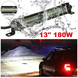 1x 13 inch White LED Work Light Bar 180W Spot Flood Combo Roof Driving Lamps