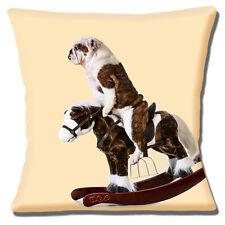 """Bulldog Anglais adulte équitation sur cheval à bascule crème 16 """" HOUSSE COUSSIN"""