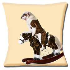 "ENGLISH BULLDOG ADULT RIDING ON ROCKING HORSE  Cream 16"" Pillow Cushion Cover"