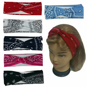 "Bandana Print Headband Women's Yoga Hair Wrap Paisley Twisted 3"" Stretchable"