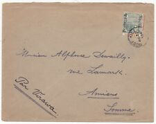 # 1904 ROSE HILL MAURITIUS > AMIENS FRANCE POSTAGE REVENUE OVERPRINTED 15c STAMP