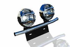 To Fit Peugeot Boxer Stainless Steel Van Front Light Number Plate Bar + Spots x2