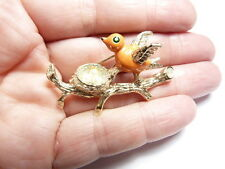 Vintage Signed Gerry's Gold Tone Metal Faux Pearl Enamel Bird Nest Eggs Brooch