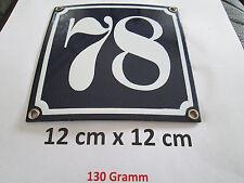 Hausnummer Emaille Nr. 78  weisse Zahl auf blauem Hintergrund 12 cm x 12 cm