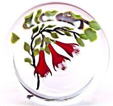 Elegant MAGNUM Victor TRABUCCO Red FUCHSIA Flowers ART Glass PAPERWEIGHT