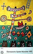 """1972 Olympische Speiel Munchen Vintage Olympic Poster 40"""" X 25"""" Alan Davie"""