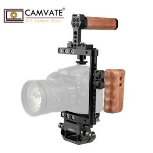 CAMVATE Camera Cage with Left Wood Handgrip Top Handle for Canon Nikon Sony DSLR