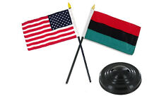 "Africa African w/ USA American Flag 4""x6"" Desk Set Table Stick Black Base"