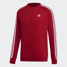 Para Hombre Adidas Originales 3 Rayas Cuello Redondo Sudadera En Rojo