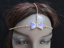 NEW WOMEN GOLD METAL HEAD CHAIN FASHION JEWELRY PURPLE BOW ADJUSTABLE HEADBAND