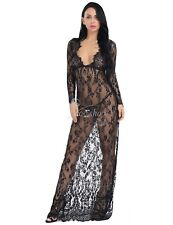 Sexy Women's Lace Floral Deep V-Neck Dress Evening Cocktail Ball Gown Long Maxi