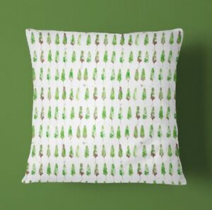 Green Forest Print Cushion Cover, Zip Fastening (40x40cm)100% Cotton Linen
