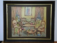 Mid Century Vintage 60's Signed Painting Still Life With Cat At Window Framed