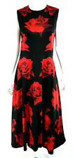 ALEXANDER McQUEEN Black & Red Rose Print Satin A-Line Midi Dress 44