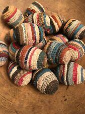 Primitive Hand Wrapped Vintage Rag Rug Eggs Farmhouse Style Decor Easter!